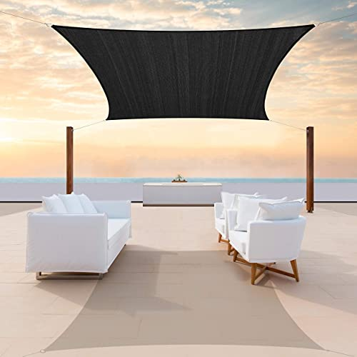 ColourTree CTAPS14 Custom Size 14' x 23' Black Sun Shade Sail Canopy UV Block Rectangle