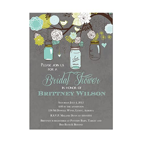 Amazon mason jar bridal shower invitations in teal and gray mason jar bridal shower invitations in teal and gray base price is for a set filmwisefo