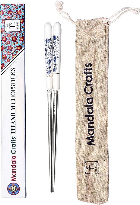 Children Chopsticks Healthy 1 Pair of Round Titanium Children Chopsticks,Strong but Super Light Weight provided with Aluminium Case