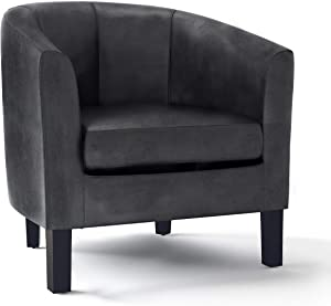 SIMPLIHOME Austin 30 inch Wide Transitional Tub Chair in Distressed Black Faux Air Leather