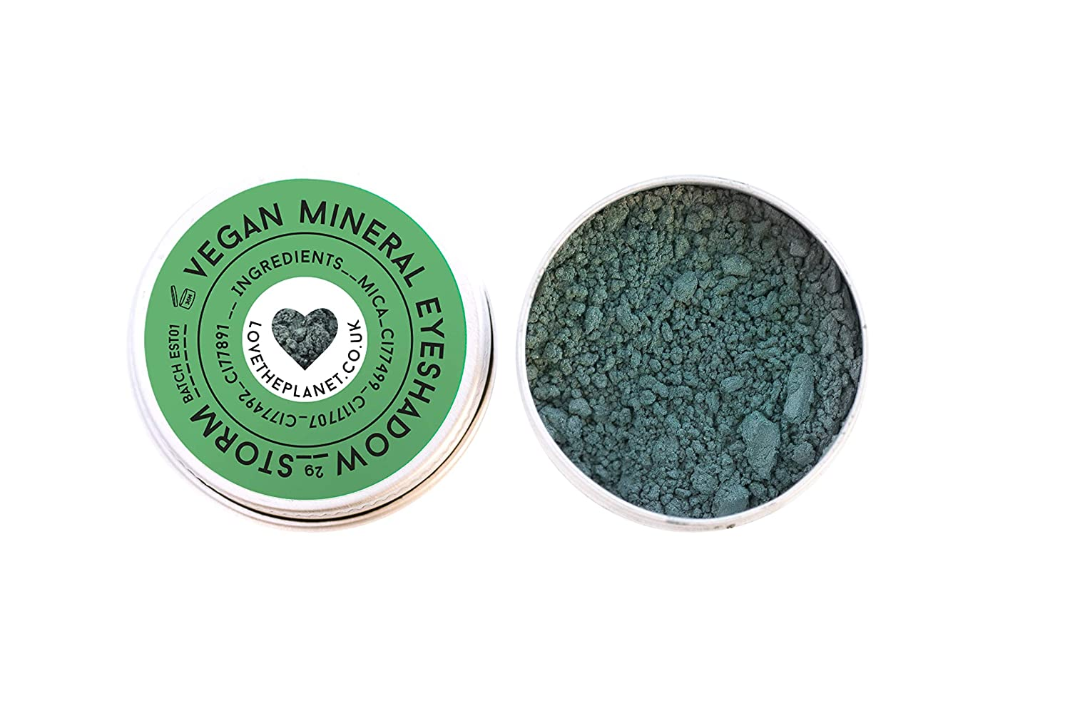 Love the Planet Vegan Mineral Eyeshadow Shade Storm in Refillable Tin