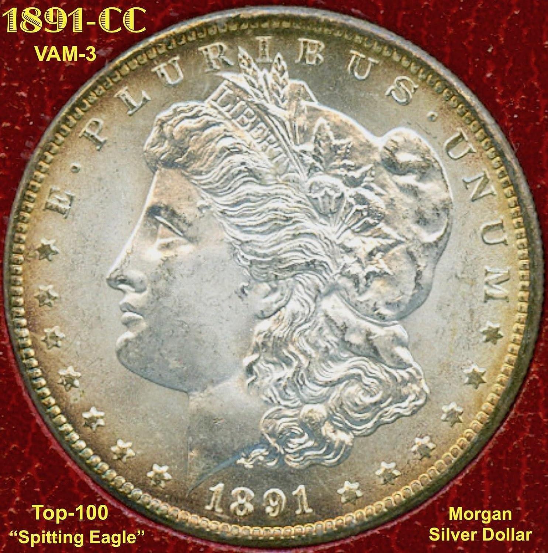 1891 CC Morgan Silver Dollar VAM-3 (Spitting Eagle) $1 MS-65 at