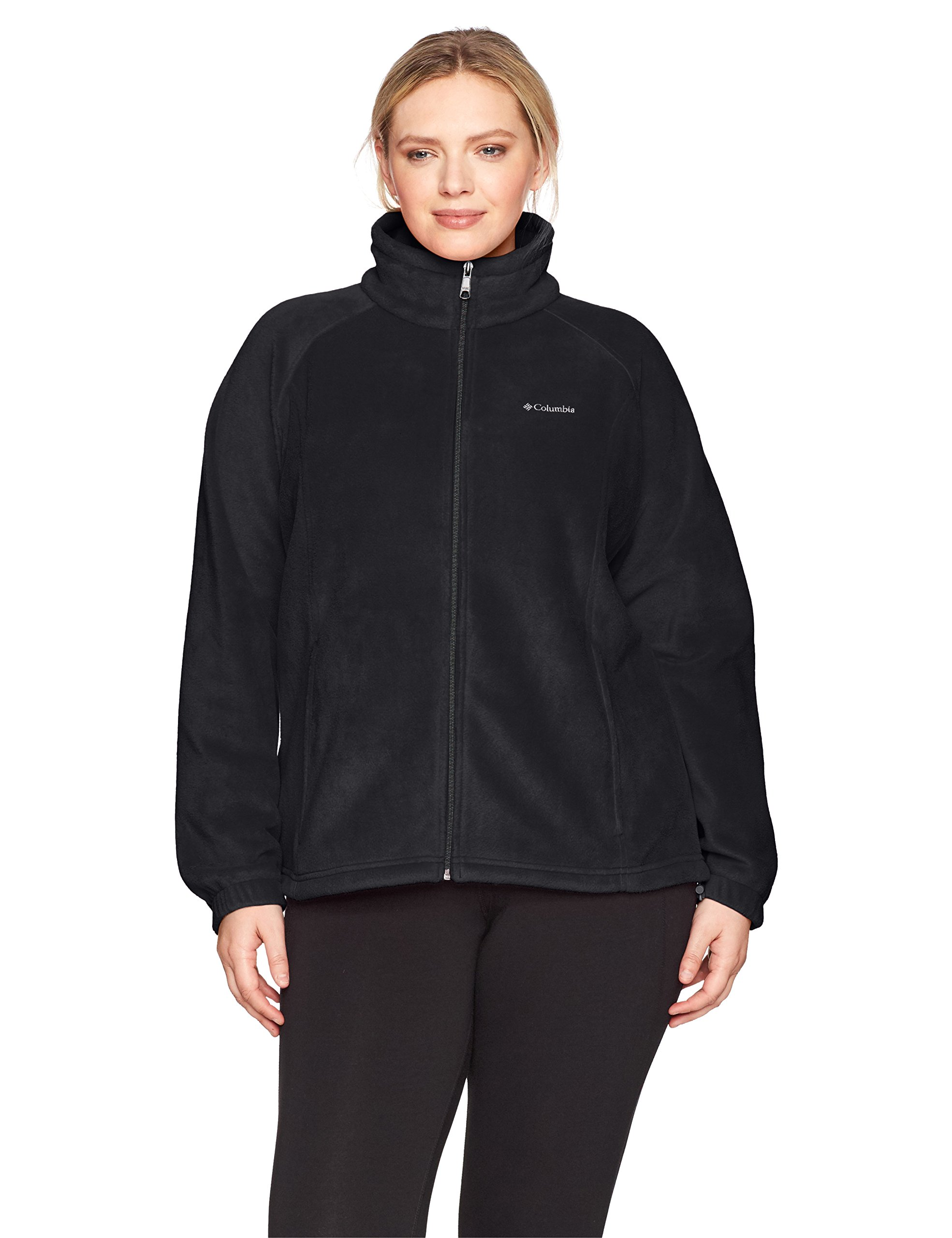 Columbia Women's SizeTested Fz Plus Size Tested Tough in Pink Benton Springs Full Zip Jacket, Black, 1X
