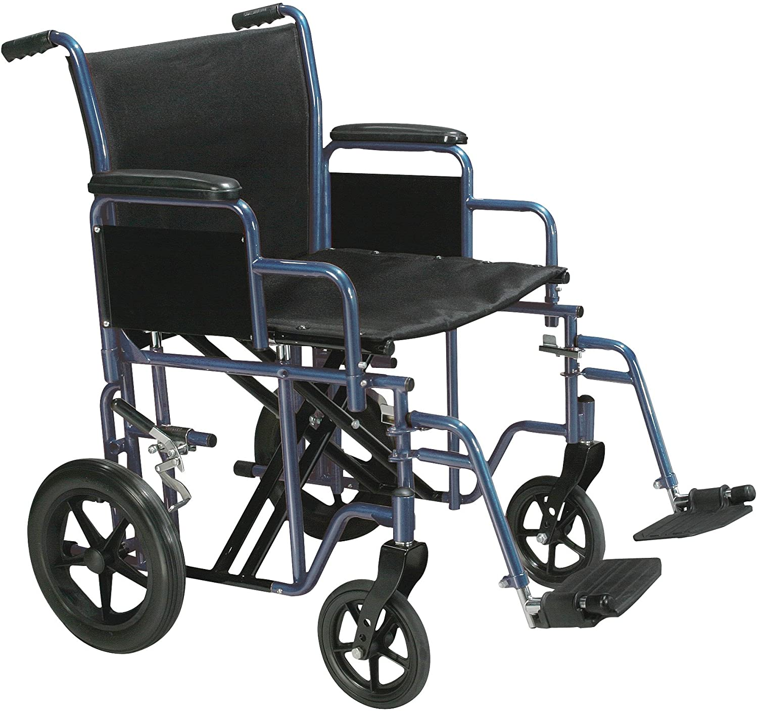 Drive Medical Bariatric Heavy Duty Transport Wheelchair | Swing-Away Footrest with 20-Inch seat | Blue: Health & Personal Care