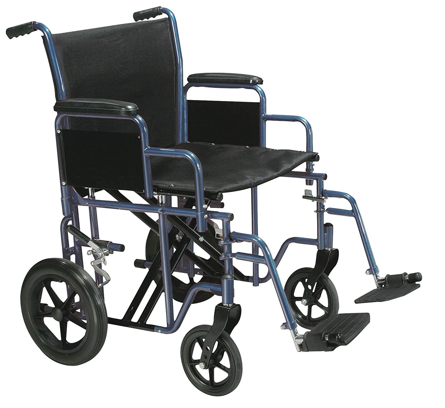 Drive Medical Bariatric Heavy Duty Transport Wheelchair with Swing-Away Footrest, Blue, 22 Inch
