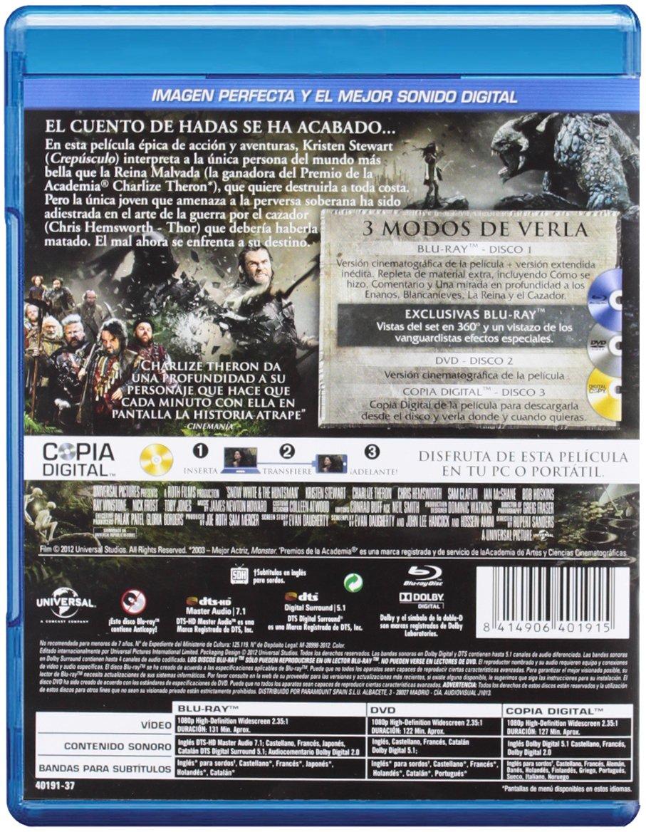 Amazon.com: Blancanieves Y La Leyenda Del Cazador (Blu-Ray + Dvd + Copia Digital) [Blu-Ra: Movies & TV
