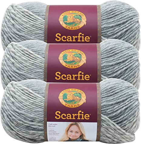 3Pk Lion Brand 826-201 Scarfie Yarn-Cream//Black