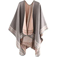 ACVIP Women's Wool Pull On Thermal Cold Weather Poncho Cape Shawl