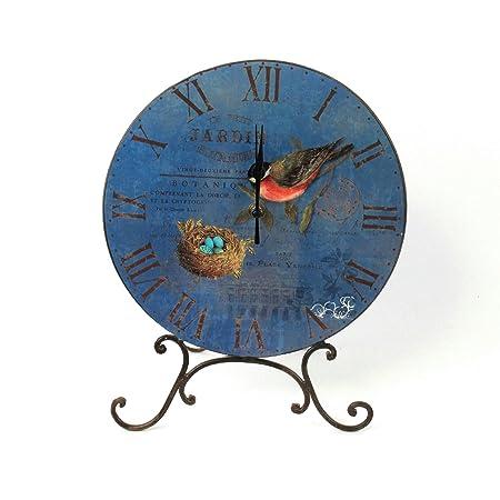 Lf Petit Jardin Botanique Blue With Bird Metal Table Clock With