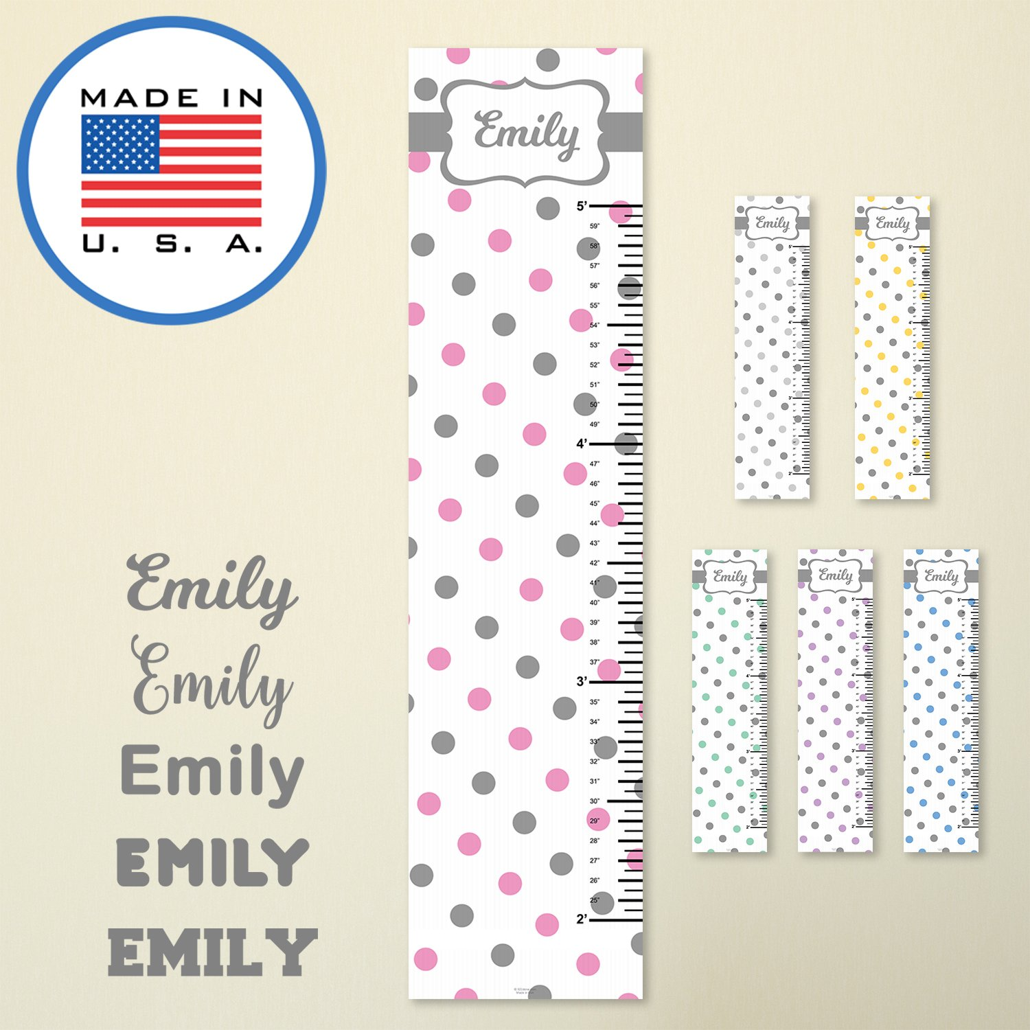321Done Personalized Hanging Growth Chart, Polka Dots Gray Pink with Name, Height Ruler Measurement, Vinyl Banner Nursery Wall Decor Baby, Made in USA
