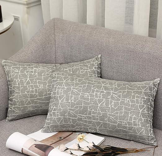 Vioaplem - Funda de cojín Bordada de algodón, Lino, para sofá, Dormitorio, hogar, 45 x 45 cm, Gris, 30 x 50 cm,2 stück