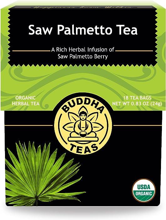 Organic Saw Palmetto Tea – 18 Bleach-Free Tea Bags – Natural Source of Fatty Acids, Phytosterols, Kosher, Caffeine-Free, No GMOs