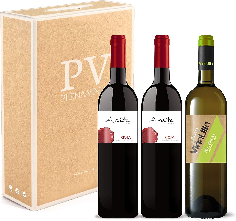 Vino tinto Rioja crianza 100% Tempranillo cosecha 2016 / Vino blanco Rías Baixas 100% Albariño Gallego cosecha 2019. Estuche 3 botellas (2 Ardite +1 ViñaUlla). Excelente pack mixto.: Amazon.es: Alimentación y bebidas