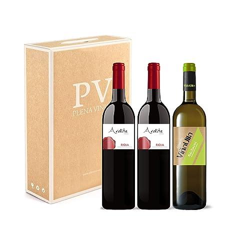 Vino tinto Rioja crianza 100% Tempranillo/Vino blanco Rías Baixas 100% Albariño Gallego dulce afrutado. Estuche 3 botellas (2 Ardite Rioja + 1 ...