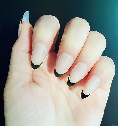 YUNAI Estilete Medio Uñas postizas Naturaleza Desnudo Color con Negro Uñas falsas Consejos de uñas francesas