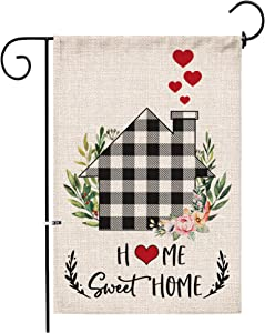 Hexagram Home Sweet Home Garden Flag, Fall Winter Vertical Double Sided Burlap Black White Buffalo Plaid Check Farmhouse Garden Flags, Spring Summer Rustic Farmhouse Yard Outdoor Decoration 12x18 Inch
