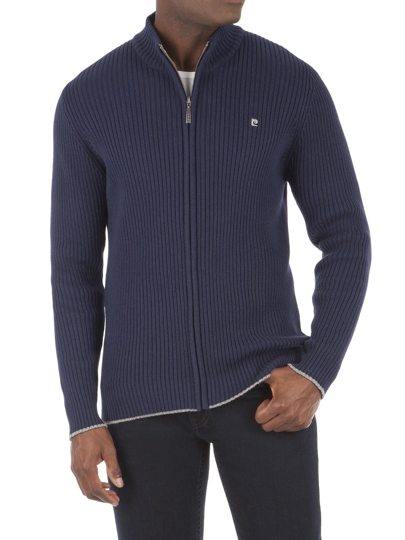 Suit Direct Pierre Cardin Full Zip Rib Navy Cardgian - 0046262 Regular Fit Knitwear