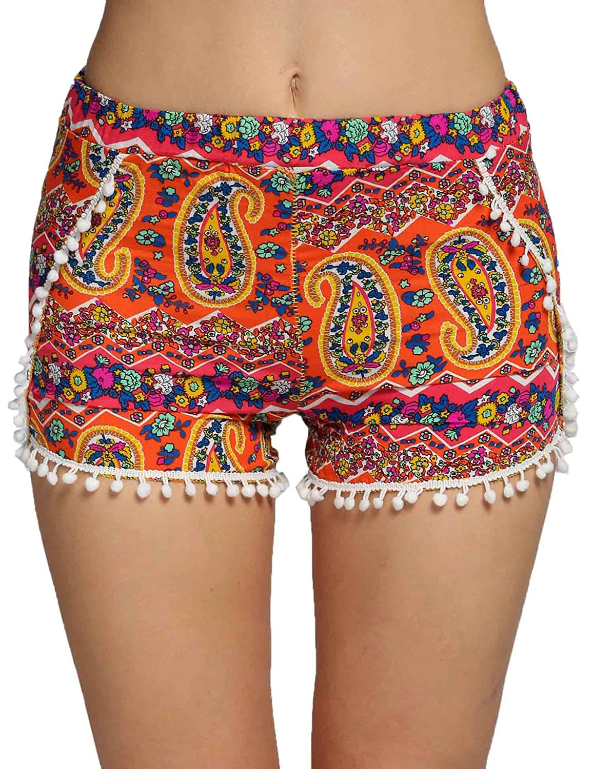 2d8a4782a3a2 chic Youzee Women High Waist Print Elastic Tassel Decor Casual Beach Mini  Shorts