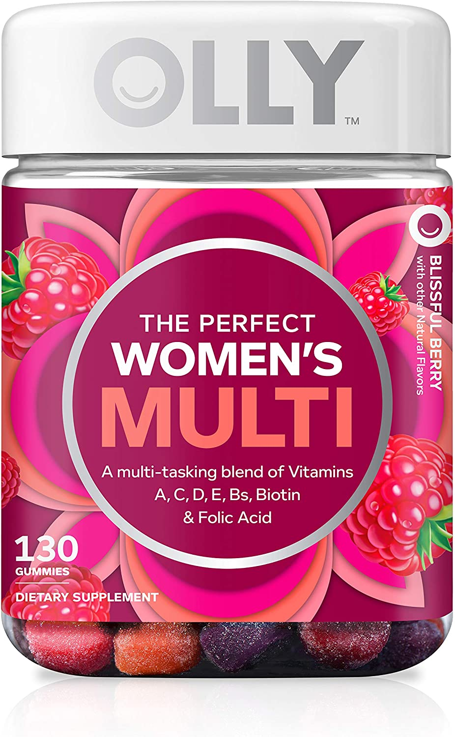 OLLY The Perfect Womens Gummy Multivitamin, 65 Day Supply 130 Gummies , Blissful Berry, Vitamins A, D, C, E, Biotin, Folic Acid, Chewable Supplement