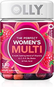 OLLY The Perfect Womens Gummy Multivitamin, 65 Day Supply (130 Gummies), Blissful Berry, Vitamins A, D, C, E, Biotin, Folic A