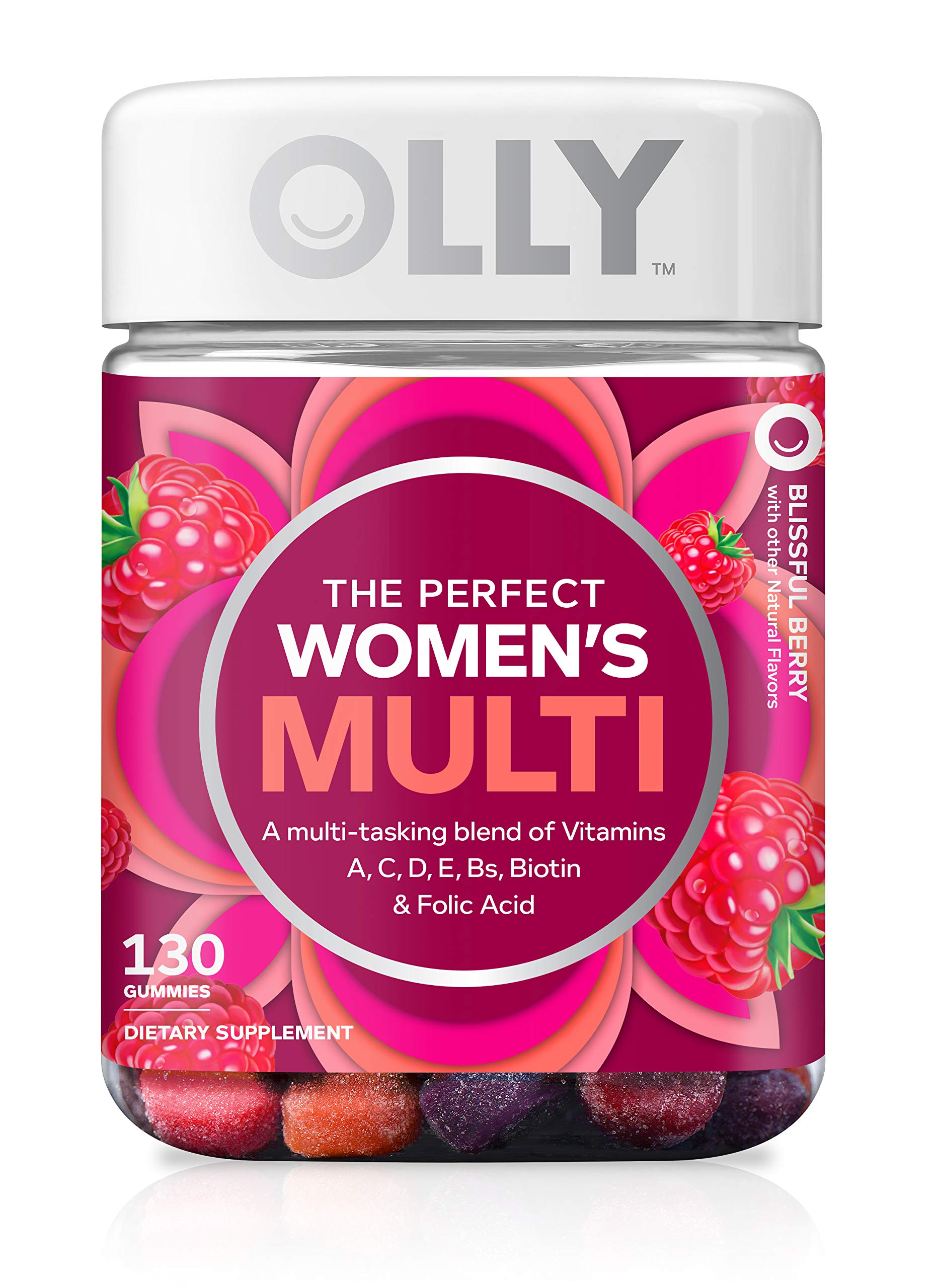 OLLY The Perfect Womens Gummy Multivitamin, 65 Day Supply (130 Gummies), Blissful Berry, Vitamins A, D, C, E, Biotin, Folic Acid, Chewable Supplement