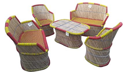 Ecowoodies Alcea 2 Seater Sofa Set Wooden Chair (2+2+1)