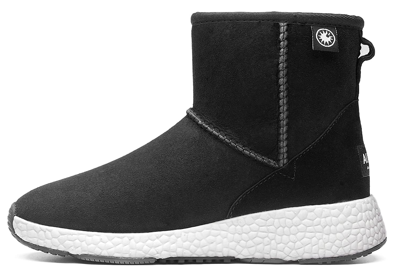 AU&MU Women's Full Fur Sheepskin Suede Winter Snow Boots B074Z6L3S9 4.5 B(M) US|Black 5