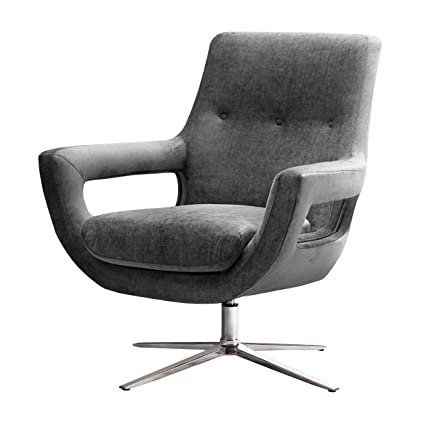 TOV Furniture TOV S6148 The Fifi Collection Modern Accent Swivel Chair, Gray
