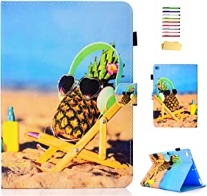 iPad 9.7 inch Case 2018 2017 (iPad 6th/5th Gen),for Apple iPad Air/Air 2 Folio Cover, UUcovers Smart Stand PU Leather Cover with Card Slots Stylus Pencil Holder [Auto Sleep/Wake], Gold Pineapple