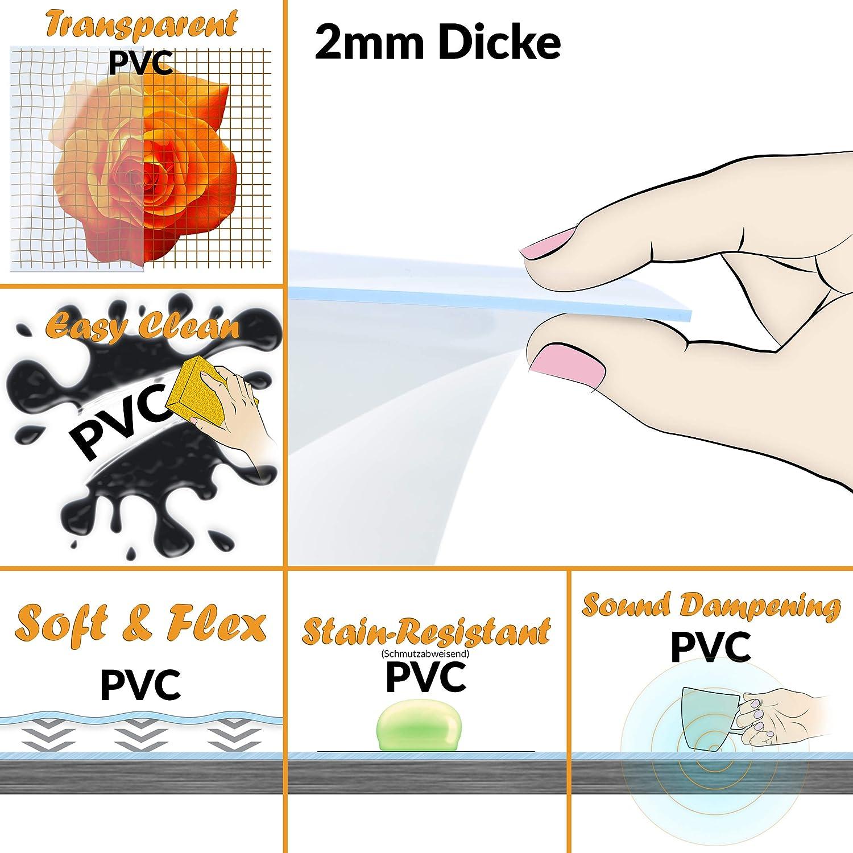 ANRO Tischdecke Tischfolie Schutzfolie Tischschutz Auflage 2mm dick transparent 40x100cm