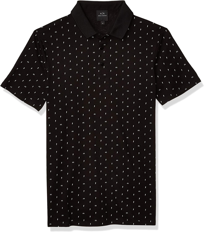 AX Armani Exchange Men's Slim Fit Print Short Sleeve Jersey Polo Shirt