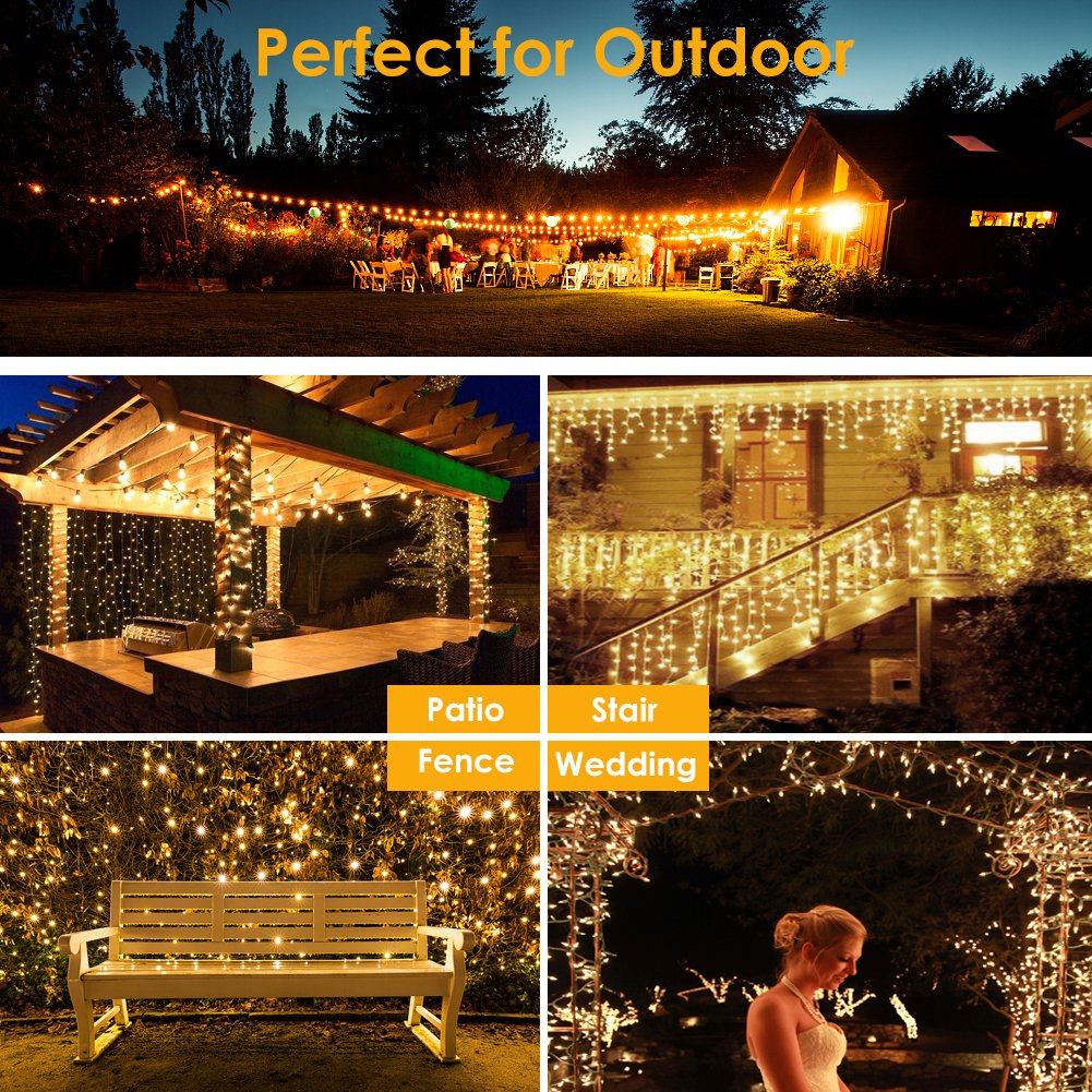 GDEALER 300 Led Window Curtain Lights with Timer,Remote Control String Lights Fairy Lights for Wedding Party Bedroom,6.6x6.6ft Hanging Lights Twinkle Lights Christmas Lights Wall Decor Warm White by GDEALER (Image #3)