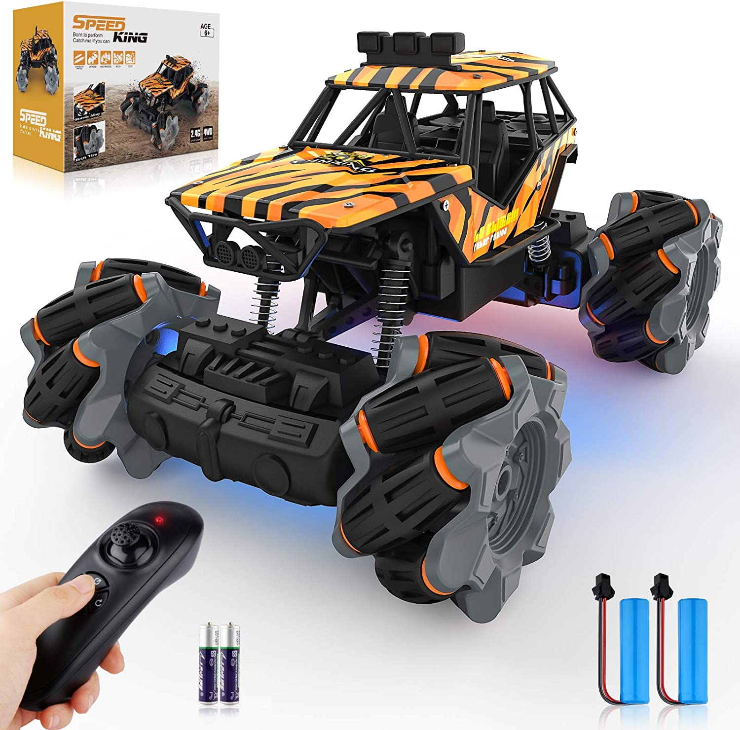 Growsly Remote Control Car, High Speed RC Car for Kids Adults 1:18 Scale 2.4 GHz 360° Spins Off Road Hobby RC Truck Racing Monster Vehicle with 4 Batteries , Drift Toy Car for Boys & Girls Gifts: Toys & Games