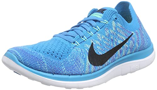 finest selection c2162 52b73 Nike Women s WMNS Free 4.0 Flyknit, Blue Lagoon Black-Game Royal, 11
