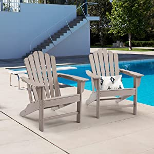 Ehomeline Classic Outdoor Adirondack Chair Set of 2 for Garden Porch Patio Deck Backyard, Weather Resistant Accent Furniture,Brown