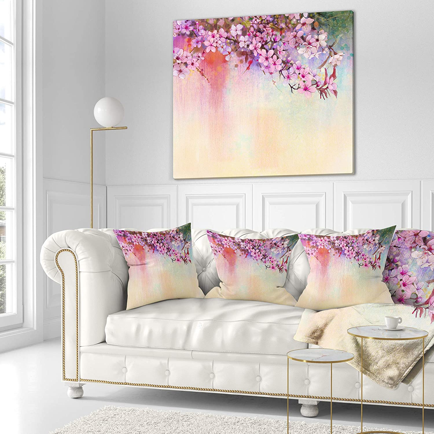x 16 in Designart CU14088-16-16 Watercolor Painting Cherry Blossoms Floral Cushion Cover for Living Room in Sofa Throw Pillow 16 in Insert Printed On Both Side