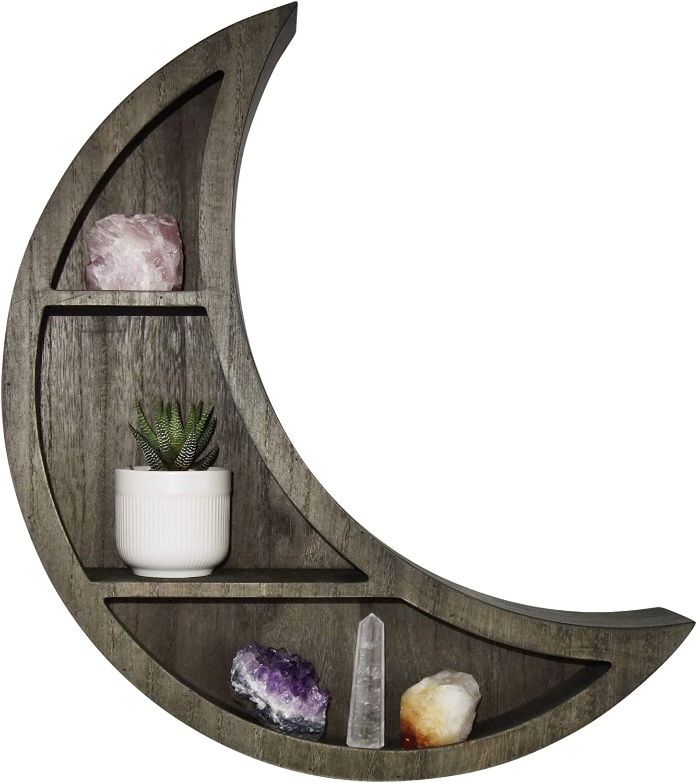 Crescent Moon Wall Shelf, Wood - Unique, Moon Shaped Floating Shelves for Crystals- Bohemian Crystal, Essential Oil Storage Shelf Display Rack- Boho Wall Decor for Bedroom, Dorm, Living Room, Nursery