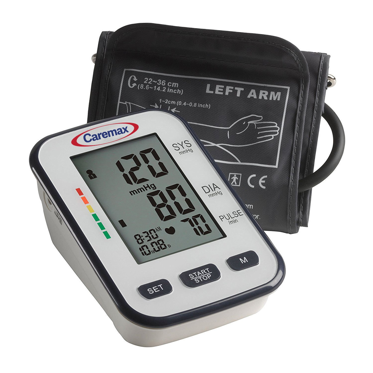 Caremax Upper Arm Blood Pressure Monitor Automatic Digital Blood Pressure Cuff Machine One Size Fits All Cuff, Easy to Read and Calculation Accuracy – FDA Approved