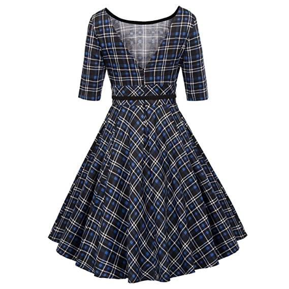 Leisure Vintage Dress Fall Daily Party Retro Dress Midi Vestidos with Belt at Amazon Womens Clothing store: