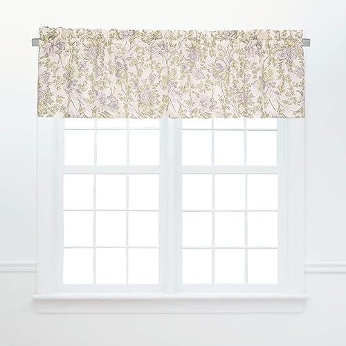 C F Home Grace Valance Set of 2 Floral Leaves Summer Spring Cotton Curtains for Window Living Dinning Bedroom Bathroom Kitchen Valance Set of 2 Green