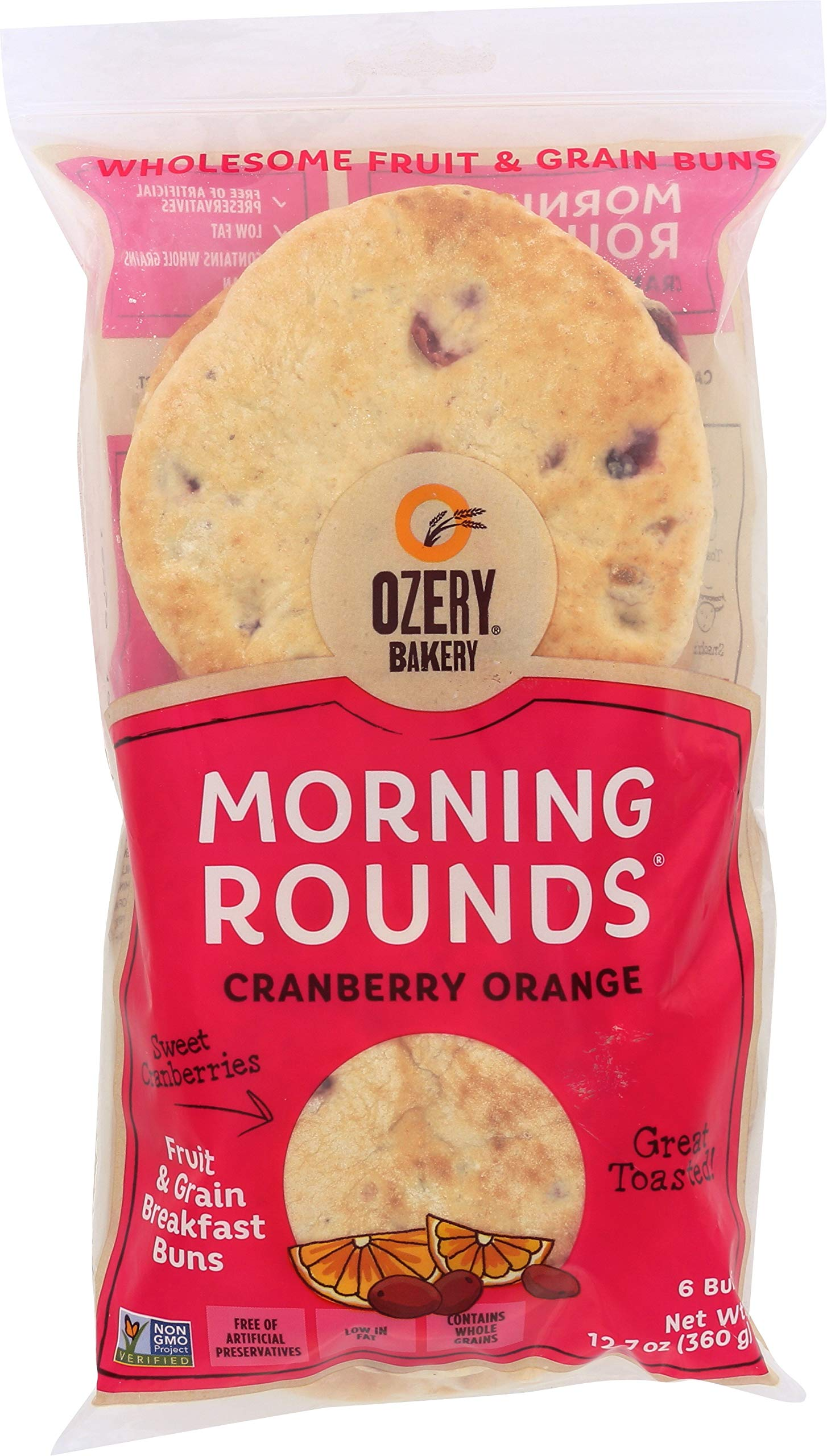OZERY BAKERY Morning Round Pita Bread, Cranberry Orange, 12.7 Ounce (Pack of 12)