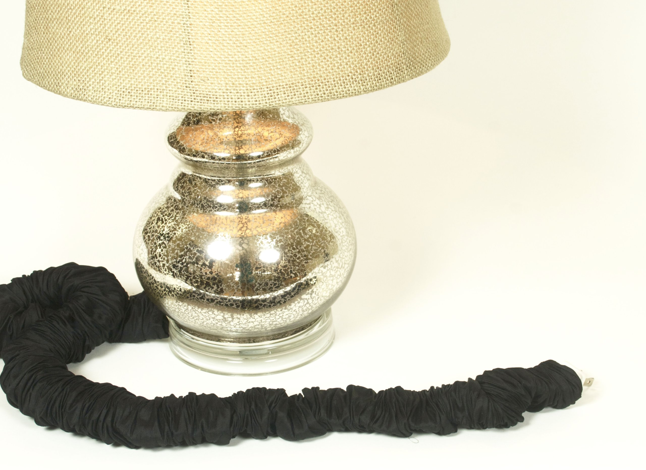 Onyx Silk Lamp Cord Cover 9 ft long 100% REAL SILK