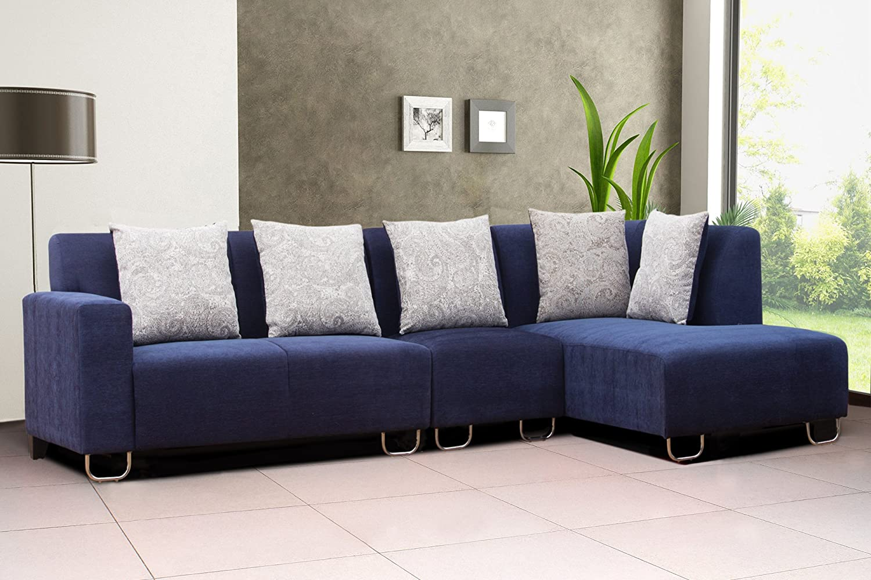 Zurich Elite Rhs Navy Blue Fabric Corner Sofa Set Amazonin
