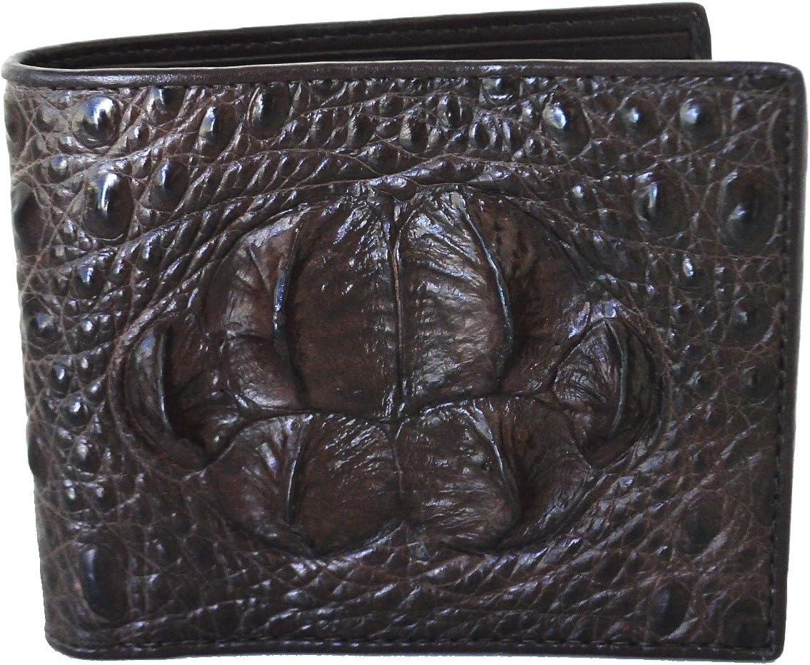 LL Fashion Men/'s Crocodile Skin Embossed Leather Bifold Wallet