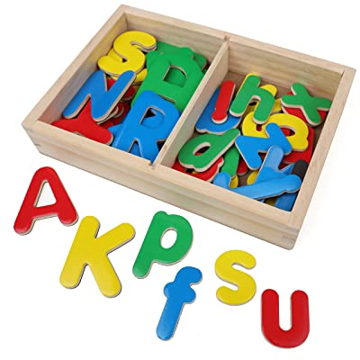 IQ Toys Wooden ABC Magnets, 52 Magnetic Uppercase and Lowercase Letters with Wooden Storage Box: Toys & Games