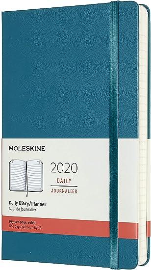 Moleskine - Agenda Diaria de 12 Meses 2020, Tapa Blanda y Goma Elástica, Color Verde Magnético, Tamaño Grande 13 x 21 cm, 400 Páginas