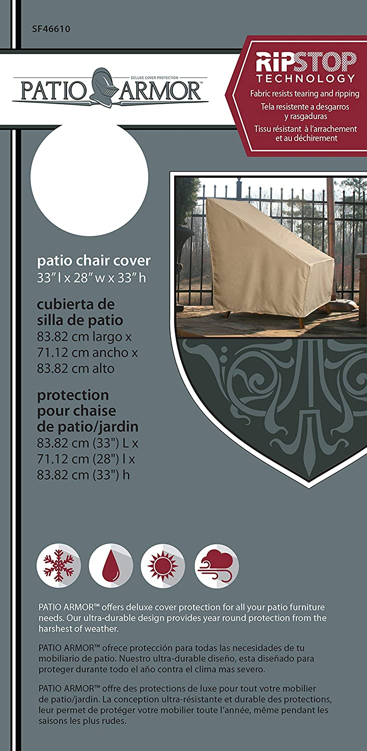 Patio Armor SF46610 Ripstop High Back Patio Chair Cover, Taupe