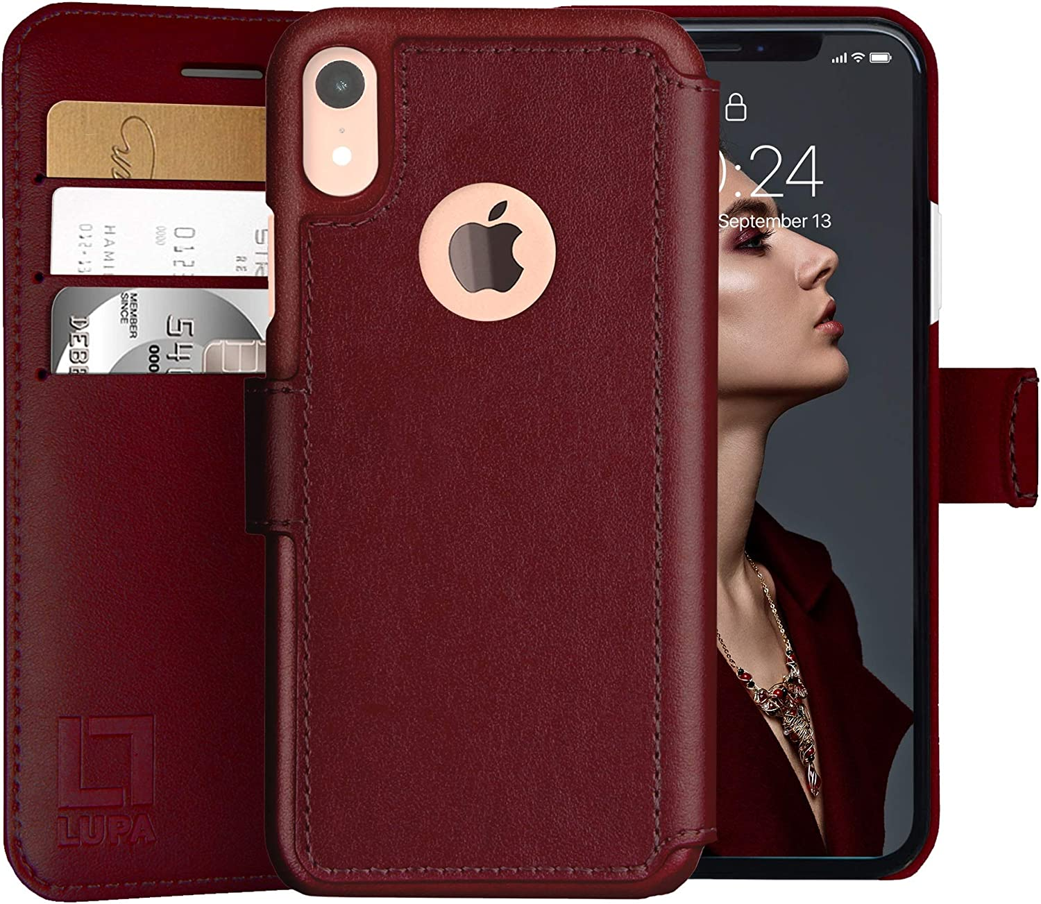 LUPA iPhone XR Wallet case, Durable and Slim, Lightweight, Magnetic Closure, Faux Leather, Burgundy, iPhone XR Case with Card Holder (6.1 Inch Screen)