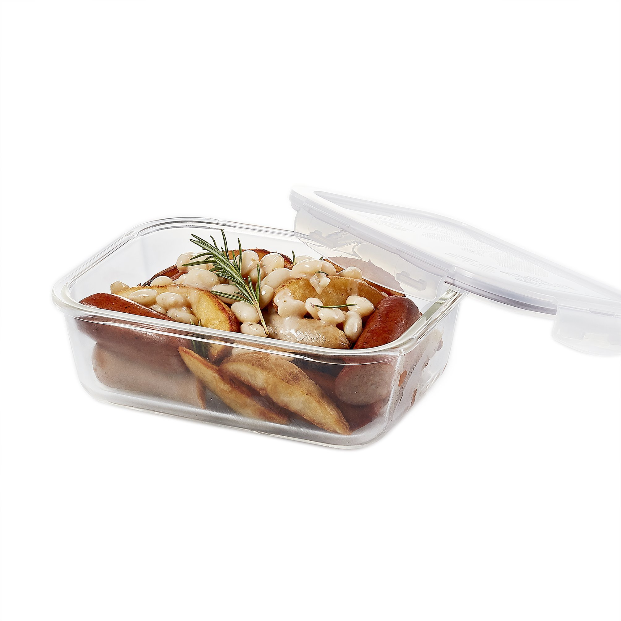 LOCK & LOCK LLG445 Purely Better Glass Food Storage Container / Rectangle Food Storage Bin - 34 Ounce, Clear