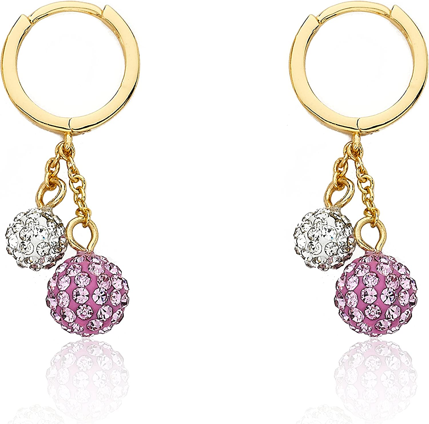 Molly Glitz Glitz Blitz 14K Gold Plated Huggy Earring Accented With Crystal Balls Lariat Dangle